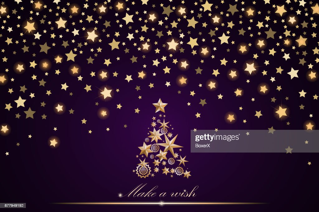 Neujahr Und Weihnachten Karte Design Gold Weihnachtsbaum Aus Sternen ...
