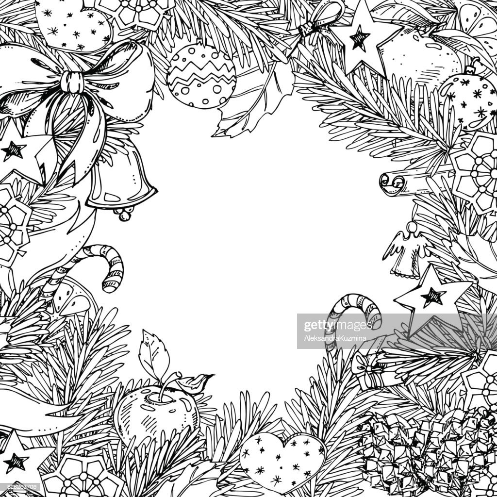 New Year and Christmas frame for coloring book for adult and children. Pattern for coloring book.