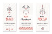New Year and Christmas greeting card templates with holiday signs