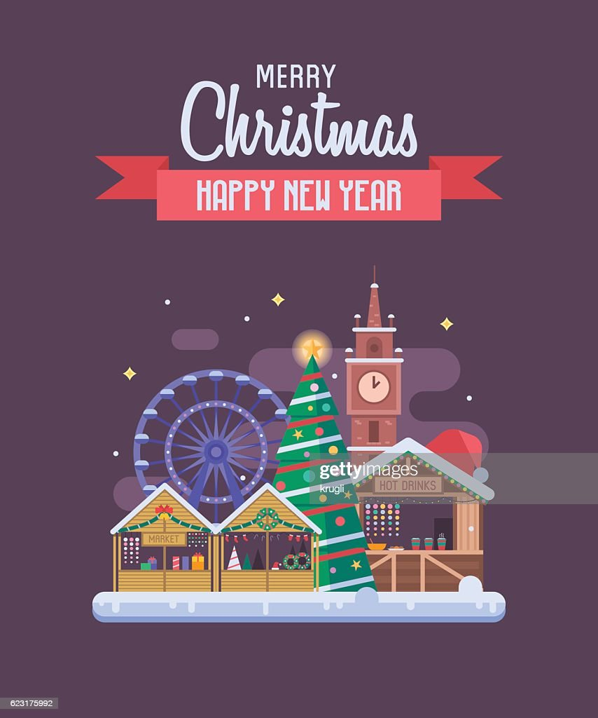 New Year And Christmas Greeting Card Vector Art Getty Images