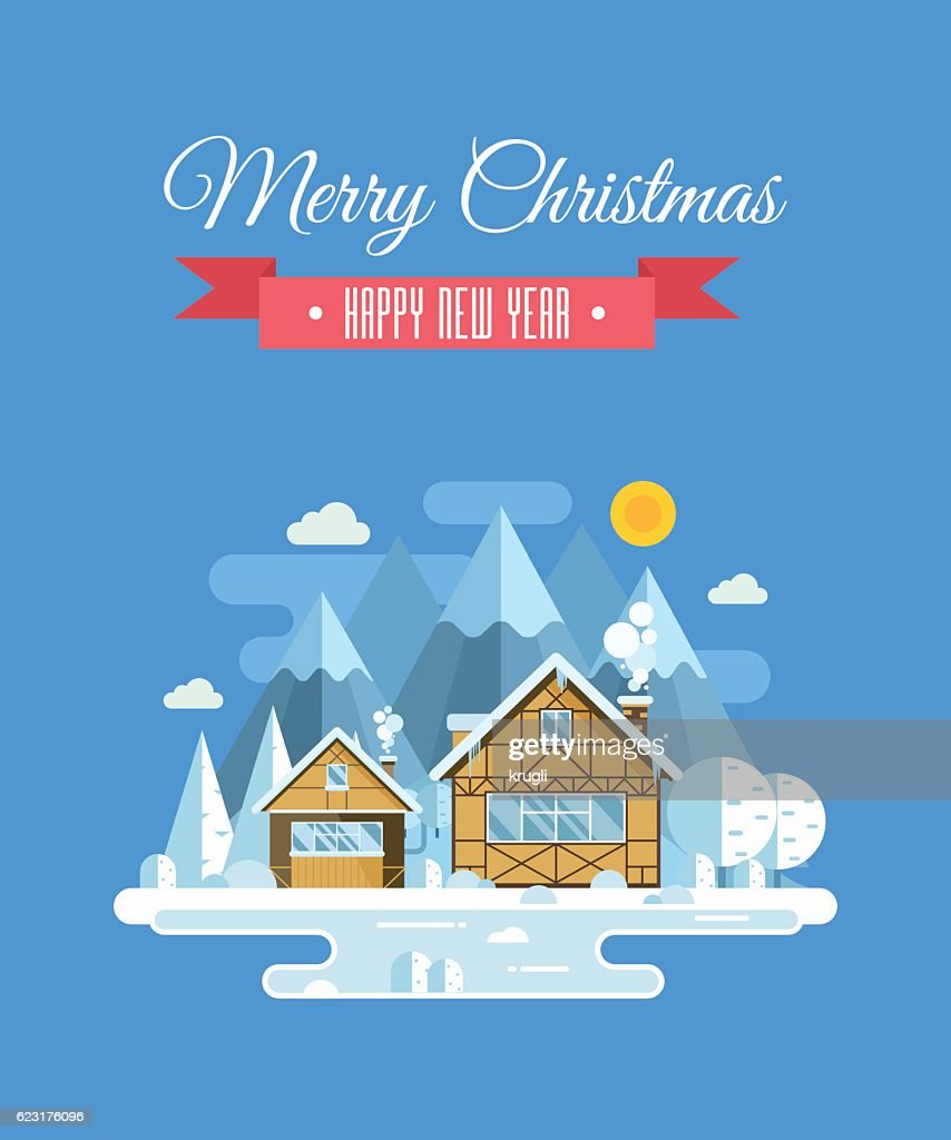 New Year and Christmas Greeting Card