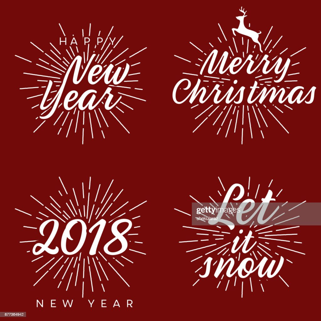 New Year And Merry Christmas Signs With Burst Vector Illustration