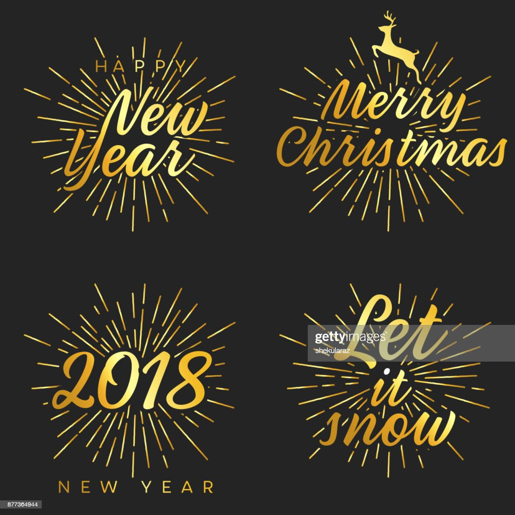 New Year And Merry Christmas Signs With Burst Vector Illustration ...