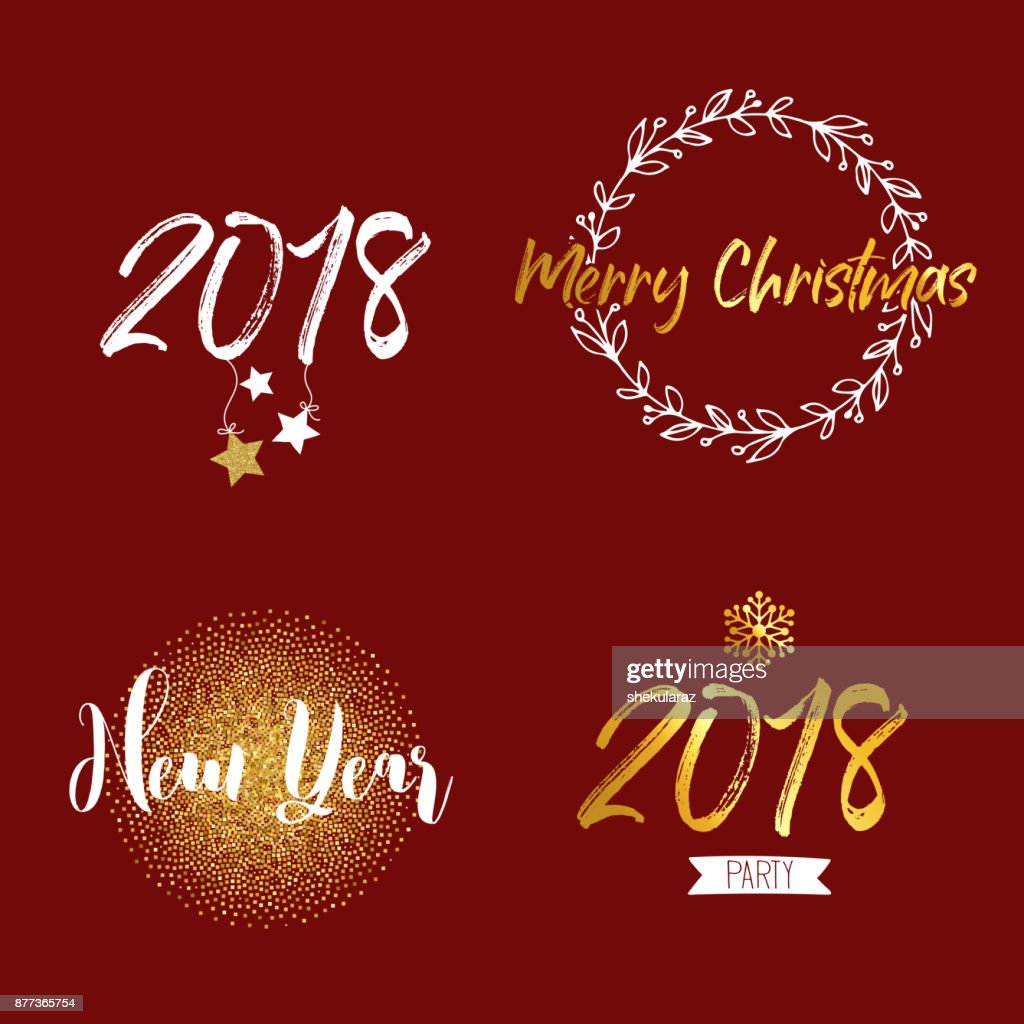 New Year And Merry Christmas Signs With Golden Elements Vector ...