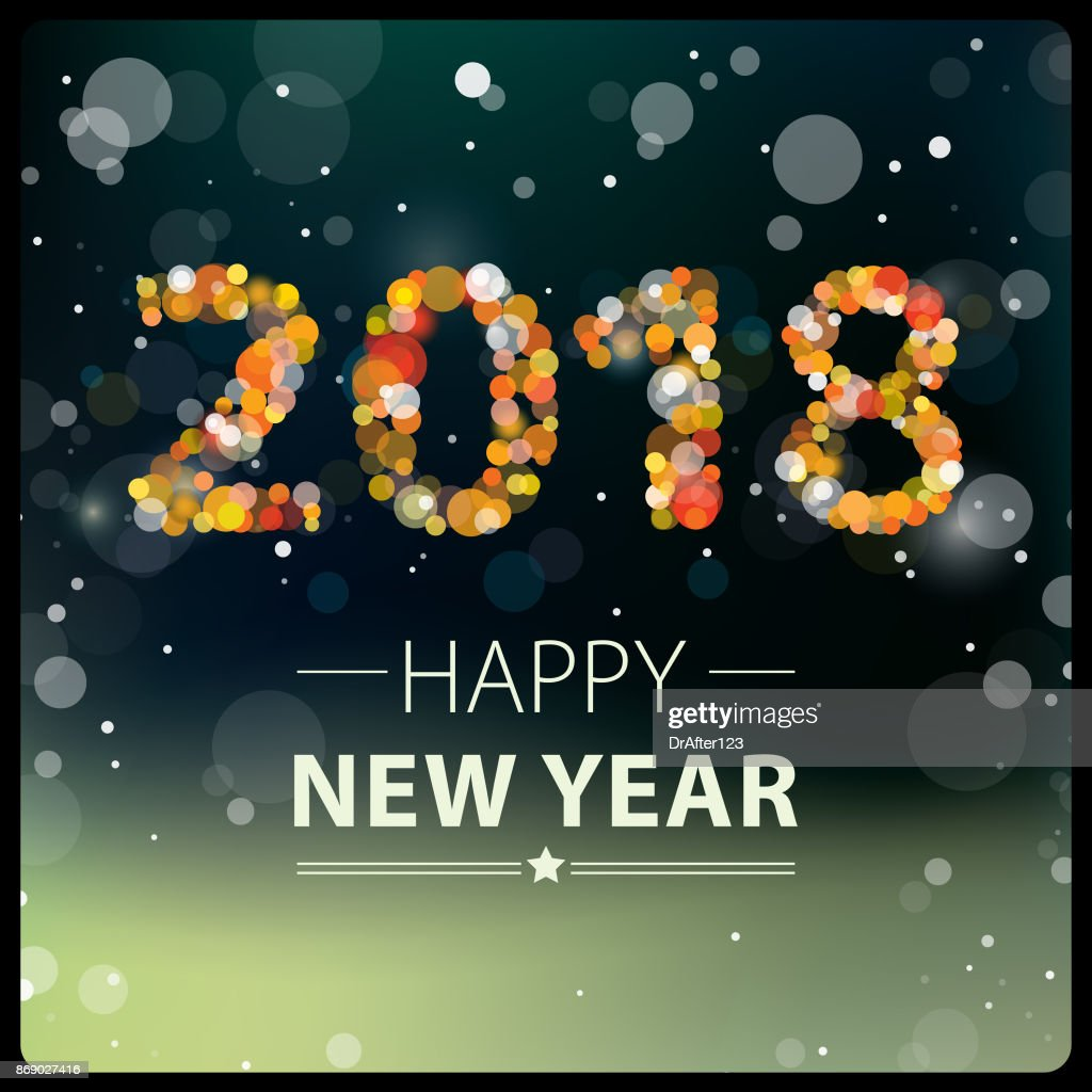 new year background 2018 square composition vector art
