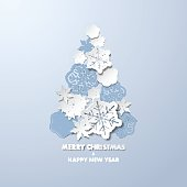 New year background with Christmas tree made of paper snowflakes.