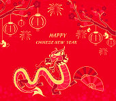 New Year Background with Dragon and Monkey