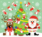 New Year background with Santa Claus and deer
