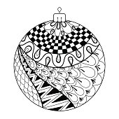 New Year ball. Freehand artistic ethnic vecto