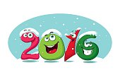 New year banner 2016 with funny figures in the snow