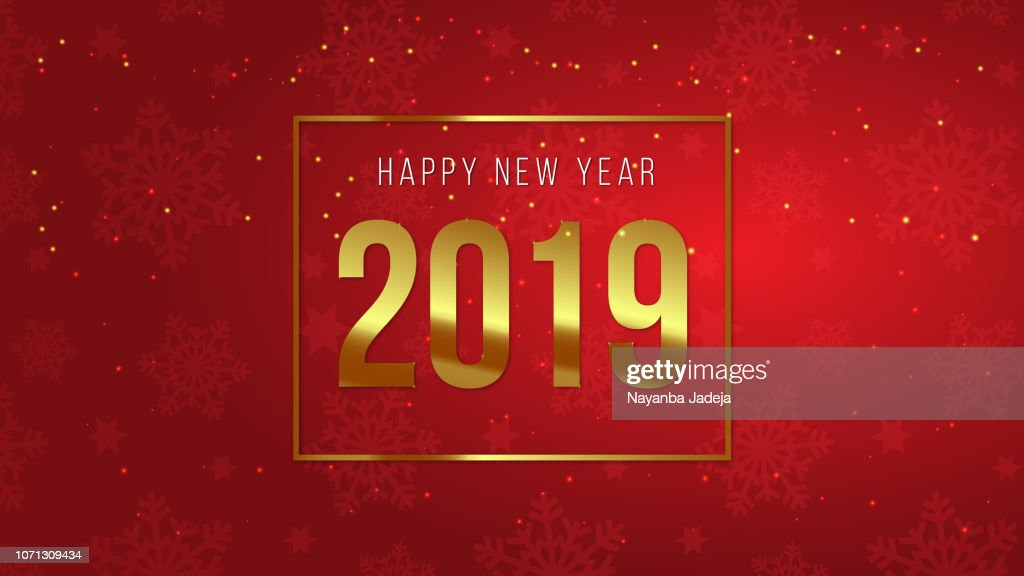 new year banner 2019 red background vector art