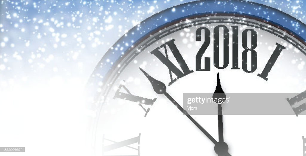 2018 new year banner with clock vector art