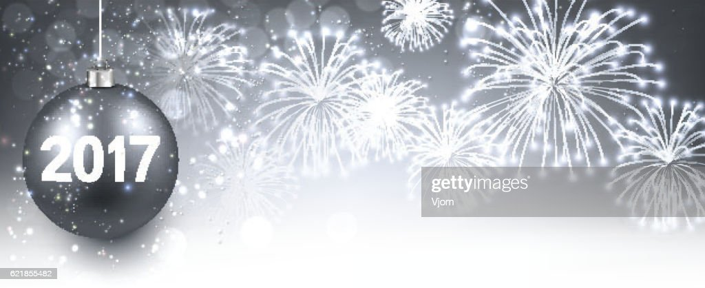 2017 new year banner with fireworks vector art