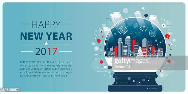 New Year Banner Xmas Glass Ball