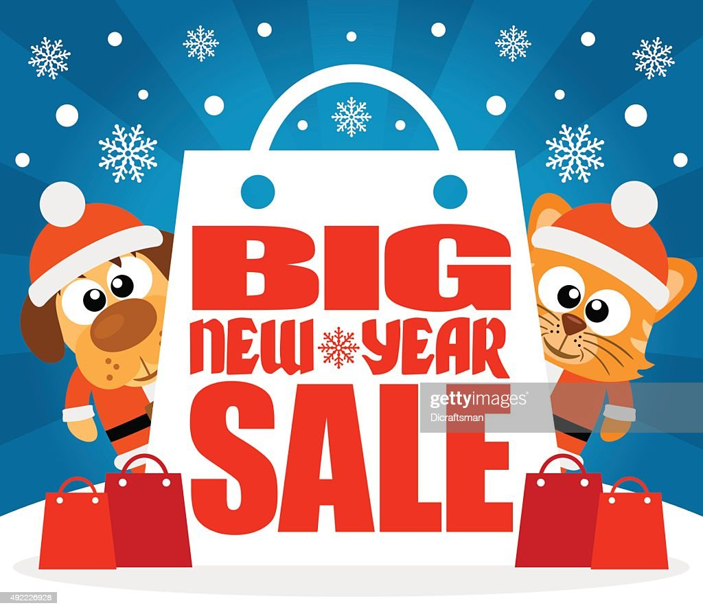 New Year Big sale background with animal vector