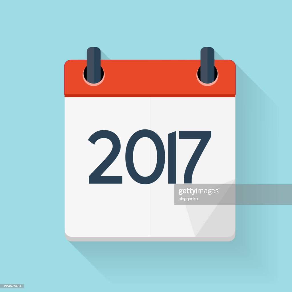 New Year Calendar Flat Daily Icon Template. Vector Illustra