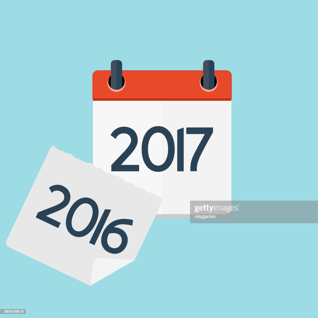 2017 New Year Calendar Flat Daily Icon Template. Vector Illustra