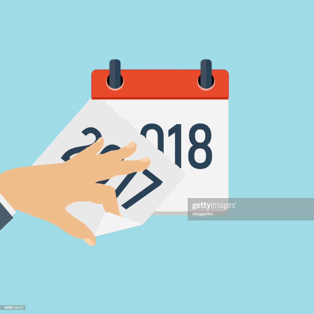 2018 New Year Calendar Flat Daily Icon Template. Vector Illustration Emblem. Element of Design for Decoration Office Documents and Applications. Logo of Day, Date, Time, Month and Holiday