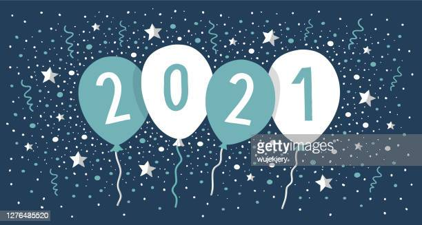 new year card 2021 with balloons and confetti - 2021 stock illustrations