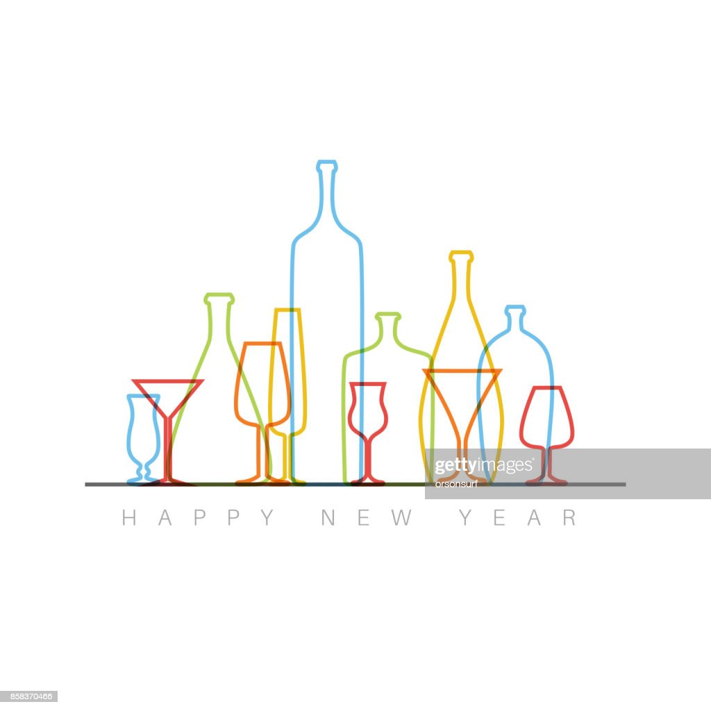 New Year card with bottles and glasses