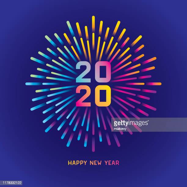 2020 new year card with colorful fireworks - 2020 stock illustrations