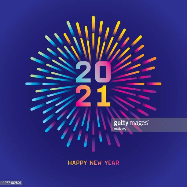 2021 new year card with colorful fireworks - new year's eve stock illustrations