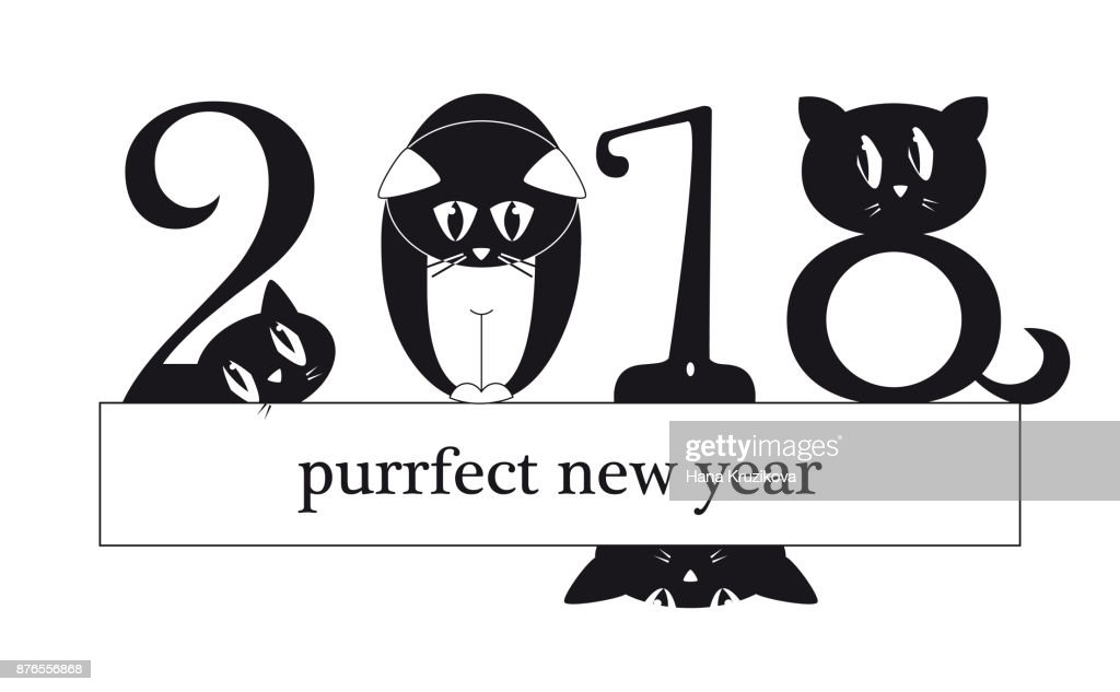 2018 New Year Card With Funny Cats As A Digits Original Funny ...