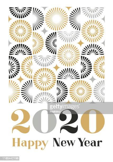 new year card with geometric fireworks - luxury stock illustrations
