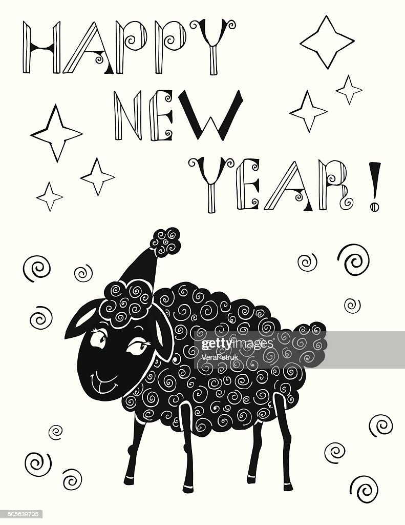 new year card with sheep vector art