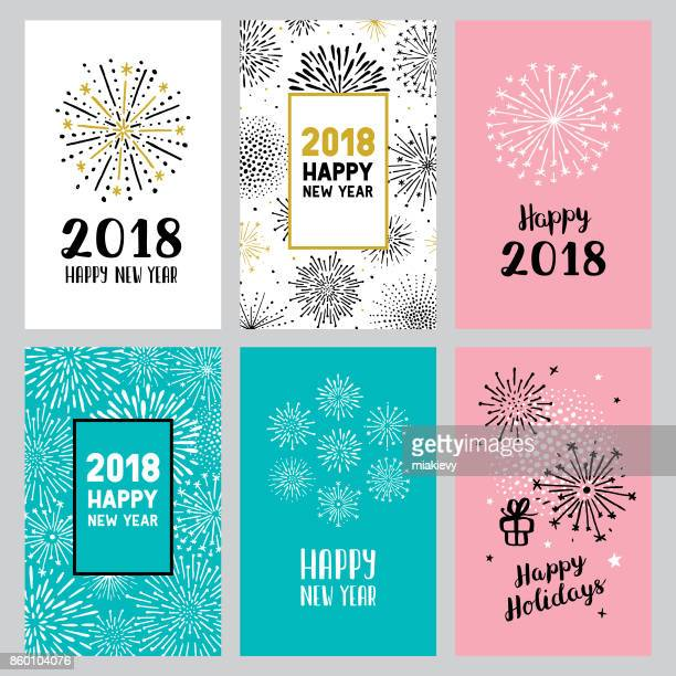 2018 new year cards - celebration stock illustrations, clip art, cartoons, & icons