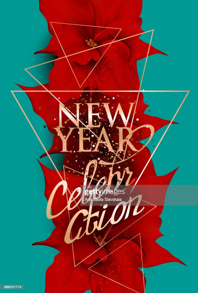 new year celebration banner with big poinsettias on the background