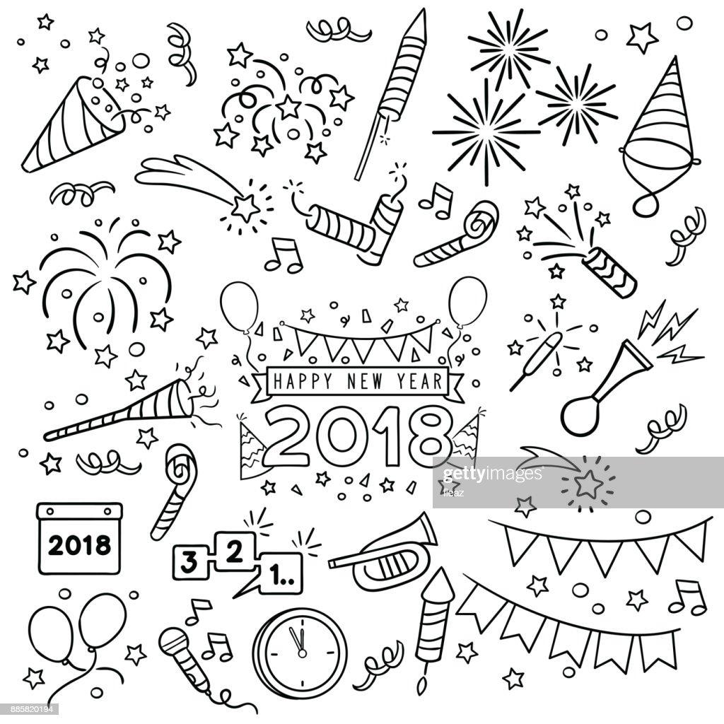 New year celebration line draw.