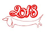 New year. Chinese new year of the Dog .2018 year. Lettering. Design holiday cards. Vector.