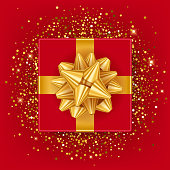 New year christmas gift box with gold ribbon.