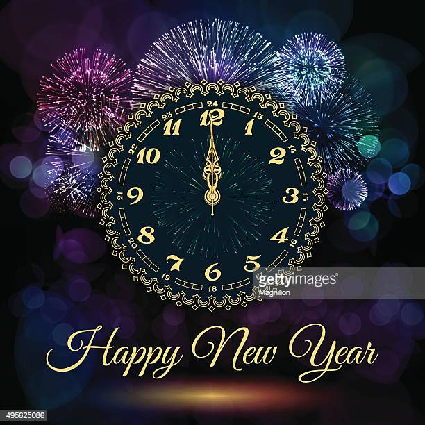 new year clock and fireworks - igniting stock illustrations, clip art, cartoons, & icons