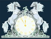 New Year clock with two horses, 5 minutes to 12.