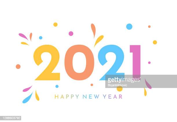 2021 new year colorful card. vector - design element stock illustrations