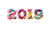 2019 New year colorful numbers