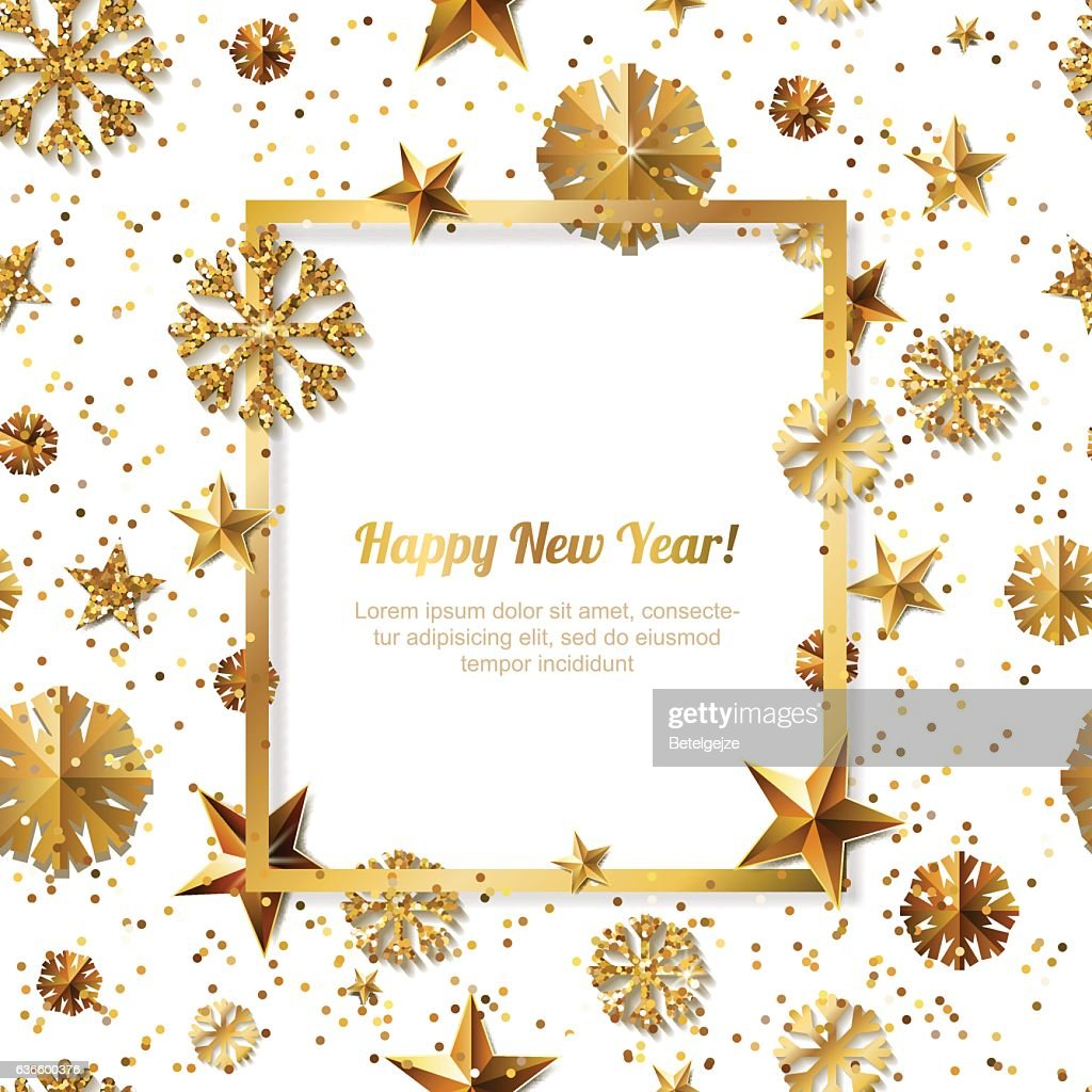 New Year concept. 3d gold stars and snowflakes. Vector illustration.