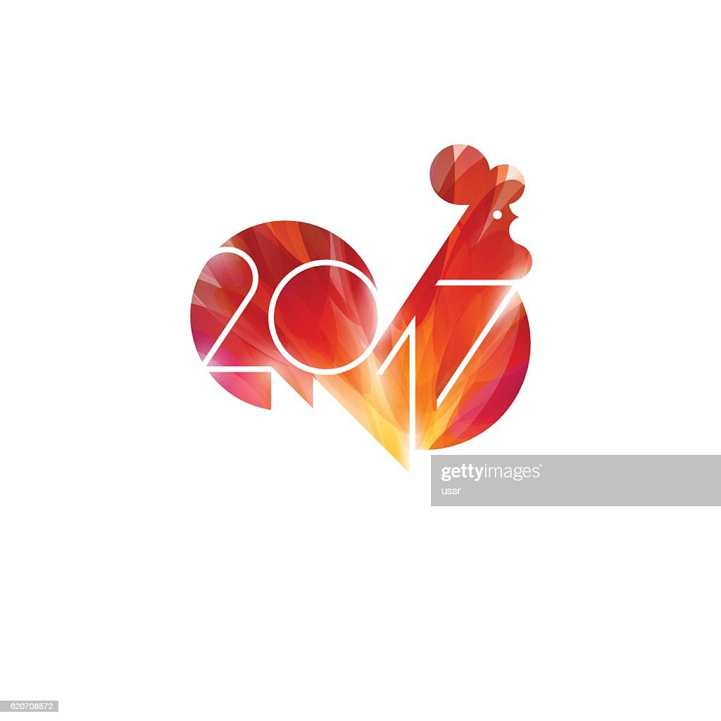 New Year design with silhouette of red fire rooster