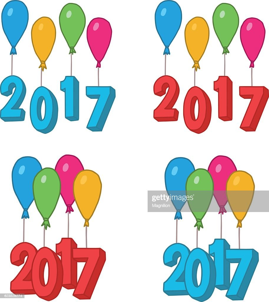 new year doodles balloons 2017 vector art