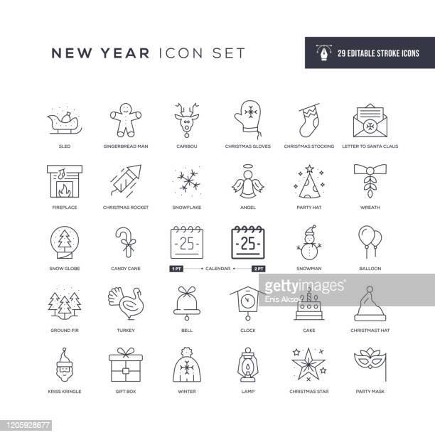new year editable stroke line icons - calendar date stock illustrations