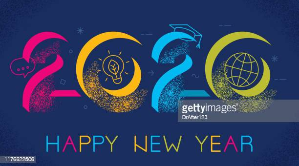 2020 new year elearning concept - new year card stock illustrations