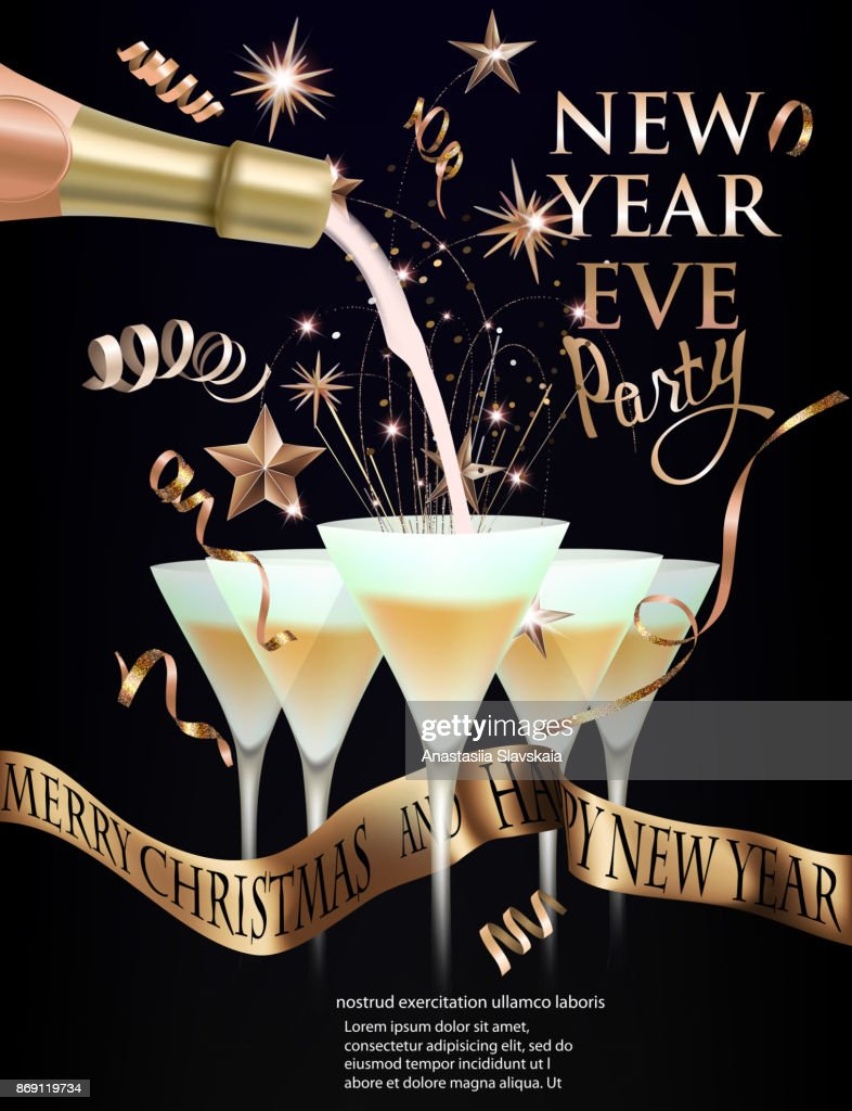 new year eve banner with glasses with cocktail and christmas decorations gold and purple vector illustration