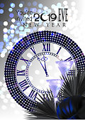 New year eve invitation card with clock and christmas deco objects