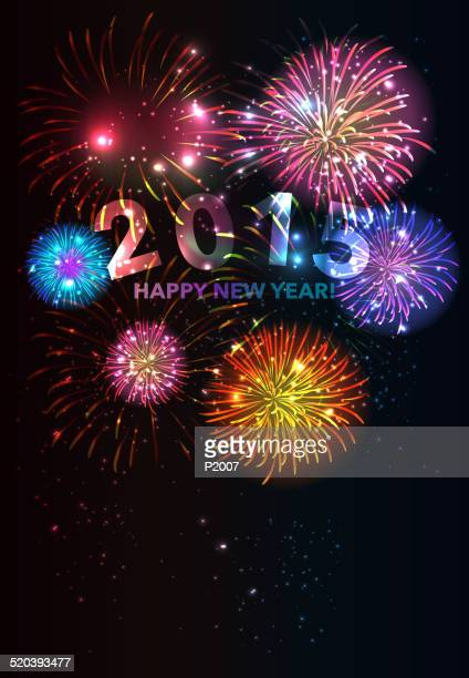 new year fireworks 2015 - flare stack stock illustrations, clip art, cartoons, & icons
