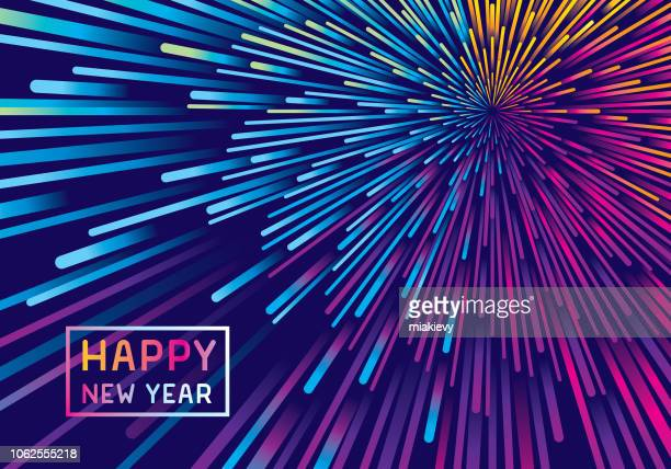 illustrazioni stock, clip art, cartoni animati e icone di tendenza di new year fireworks background - copy space