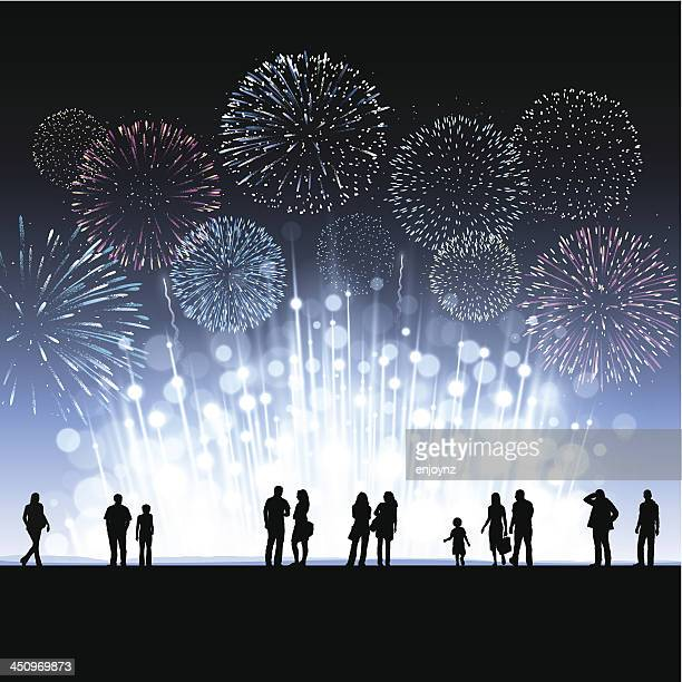 new year fireworks background - firework explosive material stock illustrations