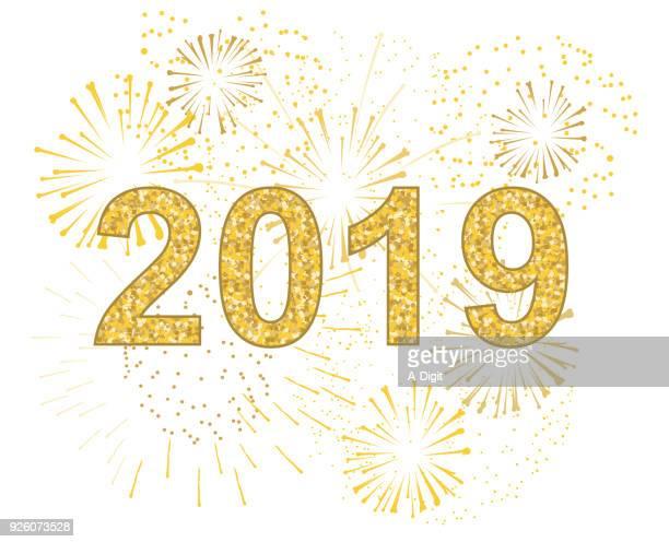 illustrazioni stock, clip art, cartoni animati e icone di tendenza di new year fireworks burst - clip art
