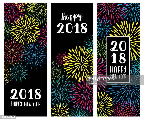 Fuegos artificiales año nuevo banners